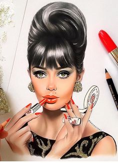 Pin by 🌸 niki chan 🌸 on makeup art in 2019 Art Beauté, Pinup, Roll Hairstyle, Beauty Art, Fashion Sketches, Fashion Illustrations, Vintage Illustrations, Pencil Art, Belle Photo