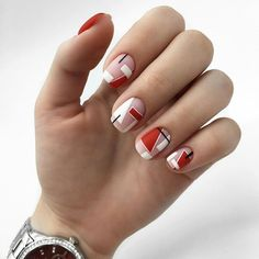 Nail Art Designs In Every Color And Style – Your Beautiful Nails Minimalist Nails, Matte Nails, Red Nails, Gorgeous Nails, Pretty Nails, Simple Nail Art Designs, Nail Designs, Geometric Nail, Nagel Gel