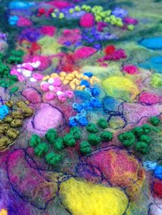 Wet and needle felted wool painting Spring Meadow by stoltart