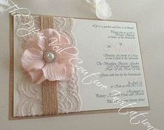 Rustic Vintage Garden Lace Collection Invitation - Burlap, Kraft & Blush Pink - Bridal Shower, Baby Shower - Burlap, Lace, flower and pearls
