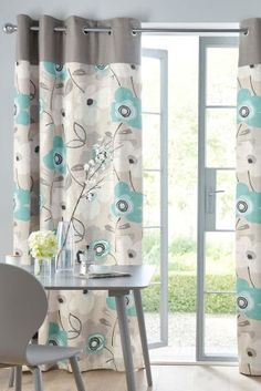 Teal Bold Floral Print Eyelet Curtains