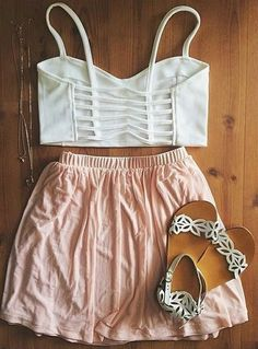 Gorgeous light peach pink pleated skirts with top white striped short blouse and cute shoes the best summer teen fashion
