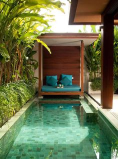 Having a swimming pool in a backyard is a good feature to make your outdoor space feels more fresh. Check these backyard with pools ideas to inspire you! Small Swimming Pools, Small Pools, Swimming Pools Backyard, Swimming Pool Designs, Pool Landscaping, Landscaping Design, Amazing Swimming Pools, Swimming Pool Tiles, Lap Pools