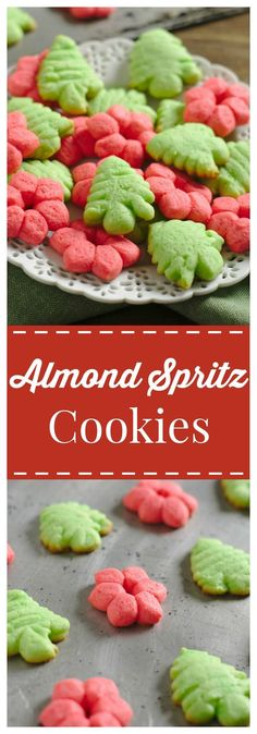 Almond Spritz Cookies – A classic German buttery cookie made with a cookie press to have fun shapes. Perfect for a Christmas cookie exchange! #Christmas #cookies  #spritz #holiday @rodellevanilla