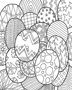 Ostereier - Malvorlagen für Erwachsene                                                                                                                                                                                 Mehr Easter Egg Coloring Pages, Spring Coloring Pages, Colouring Pages, Free Coloring, Adult Coloring Pages, Coloring Pages For Kids, Coloring Books, Doodle Coloring, Online Coloring