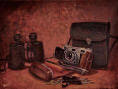 "Still life with Old Camera (12""x16"") painted by Tesh Parekh, www.teshparekh.com"