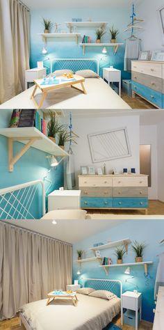 Sypialnia atrakcyjnej surferki. Przywodzi na myśl klimat egzotycznych plaż i drewnianych domków z widokiem na ocean.