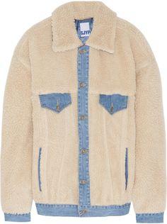 Denim-Trimmed Faux Shearling Jacket