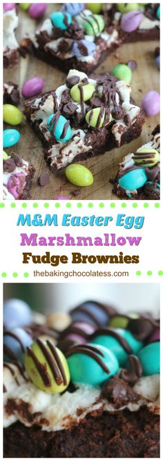 """M&M Easter Egg Marshmallow Fudge Brownies - """"Awesome as heck"""" Easter gourmet brownies to serve for your Easter family fun via @https://www.pinterest.com/BaknChocolaTess/"""