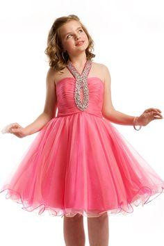Halter Ruche Short Pre-Teen Dress 1446 By Part I want this Cheap Flower Girl Dresses, Little Girl Dresses, Cute Dresses, Girls Dresses, Short Dresses, Girls Fall Fashion, Girl Fashion, Pageant Dresses, Homecoming Dresses