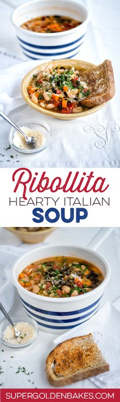 Ribollita is a hearty Italian vegetable soup that is made extra filling by the addition of slightly stale bread. Vegetarian/vegan