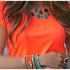 Neon orange with teal