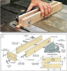 Woodworking Techniques Ultimate list of table saw jigs - If you have ever been using your table saw and thought that there has to be some way to make the job at hand easier, you are probably right. A table saw can do many things, but a table saw with the… Woodworking Jig Plans, Woodworking Table Saw, Woodworking Techniques, Woodworking Projects, Woodworking Classes, Woodworking Furniture, Table Saw Jigs, Diy Table Saw, Router Table