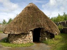 The Celts constructed and lived in round huts with thatched roofs.