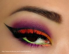 Pop Of Neon http://www.makeupbee.com/look_Pop-Of-Neon_44756 << i wish i could just pull this off on a daily