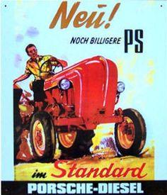 Alteres-Blechschild-Porsche-Acker-Traktor-Agrar-Reklame-Werbung-gebraucht-used