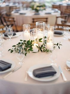 Wedding Reception Centerpieces, Candle Centerpieces, Wedding Table Settings, Wedding Table Centerpieces, Wedding Reception Decorations, Centerpiece Ideas, Centerpiece Flowers, Wedding Ideas, Simple Centerpieces