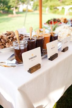 BBQ sauces done upscale? For your snack bar make them with organic and all natural ingrediants without the artificial colors or flavours for a healthy clean taste you'll notice.  via Ruffled Blog
