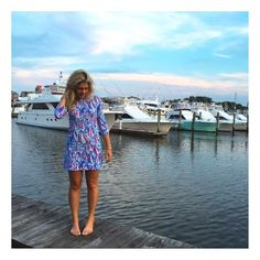@alspentar looking FAB in the Lilly Pulitzer Marlowe Boatneck T-shirt Dress in Red Right Return #summerinlilly