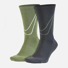 separation shoes eb3d3 d42e2 2 Pairs Nike NSW Big Swoosh Crew Socks Mens Large 8-12 Sx5402 942  Green gray for sale online   eBay