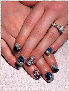 Nail Junkie: Glitter galaxy with swarovski crystals!