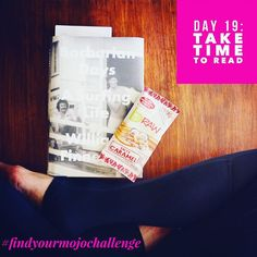 #findyourmojochallenge Day 19: Take Time To #Read  Ok be honest: when was the last time you sat down to read a book?  Until I started a regular morning and evening #reading practice the answer to that question for me would have been embarrassing. That's why I challenged myself to start reading every day again and in about a year I've read more books than in the last 10 years combined!  That's why today's challenge is to take time out to read a paper book. Disconnect from the screens for just…