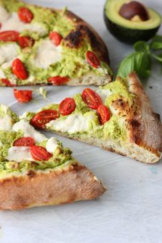 Delicious homemade Neapolitan crust topped with quick, fresh, and easy avocado pesto, tomatoes, and fresh vegan mozzarella. Vegan Mozzarella, Fresh Mozzarella, Avocado Pesto, Ripe Avocado, Baby Food Recipes, Cooking Recipes, Pesto Pizza, Vegetarian Recipes, Healthy Recipes