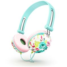 Desperately searching for a pair of headphones over the ears that don't look bulky or ugly? Well, we can help you out! Featuring a delicate floral pattern and striking teal and pink color tones, these Cute Headphones, Bass Headphones, Bluetooth Headphones, Over Ear Headphones, Phone Accesories, Tech Accessories, Teal And Pink, Pink Color, Pastel Colors