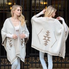 "XX The SHINTA diamond knit poncho -WHITE This diamond knit poncho gives a tribal feel with diamond patterns. Dimensions 55"" x 41"" fabric 100% acrylic. Available in WHITE, NAVY & MOCHA NO TRADE, PRICE FIRM Accessories"