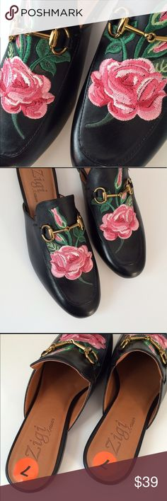 "Zigi embroidered shoes size 7 NWT black loafer Leather upper brand new Zigi Artisian loafer. These are a terrific shoe with embroidered flowers! NWT approx length is 10"" easy fit for a 6 1/2 like most loafers, a lil extra room to hold your grip. Zigi Shoes Flats & Loafers"