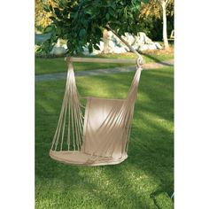 Beige Cotton Padded Hanging Garden Hammock Swing Chair max wt 200lbs #Unbranded