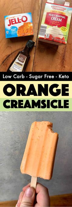 It could not be easier to make these refreshing Keto orange creamsicles. And they've got just 143 calories and 1g net carb each. There are just three ingredients: Jello, heavy whipping cream and vanilla and it takes about 5 minutes to whip them up. It's the perfect sugar-free low carb summer dessert. Sugar Free Fudge, Sugar Free Ice Cream, Sugar Free Jello, Low Carb Ice Cream, Keto Cream, Sugar Free Desserts, Sugar Free Recipes, Diabetic Desserts Sugar Free Low Carb, Sugar Free Popsicles