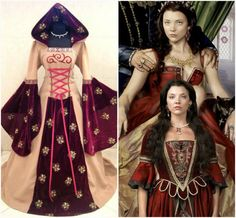 Medieval wedding dress S-M 10-12-14 red gold gothic dress witch tudor renaissance larp wicca carnival celtic costume queen tudor victorian
