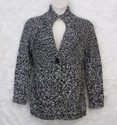 Womens ANN TAYLOR LOFT Black White Wool Blend 1 Button Cardigan Sweater SZ Large #AnnTaylorLOFT #Cardigan #CasualWork