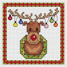 Rudolf Lights Cross Stitch Christmas Card Kit - £6.60 on Past Impressions | by Fat Cat Cross Stitch