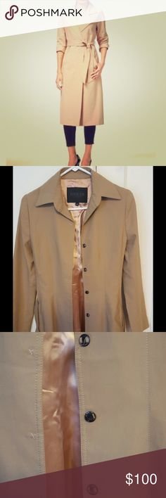 Guess trench coat Guess tan trench coat. Snap buttons and tie waist. Worn once. Sadly coat is too tight along my back. Tag is a 4 which I believe is a Small. Fully lined with satin. View third photo to see where a button needs to be tightened. Coat is in great condition. Make an offer. Guess Jackets & Coats Trench Coats