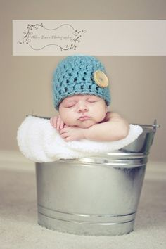 Knit Crochet Baby Boy Button Hat in Blue Photo by OopsIKnitItAgain, $18.00