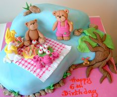 Teddy bear tea party cake by deborah hwang, via Flickr    What, are they sitting in the water???