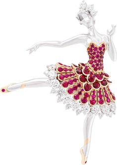 Van Cleef & Arpels Ballerina Clip, 2015. White gold, round diamonds, one rose-cut diamond, pink gold, round rubies. (Van Cleef & Arpels)