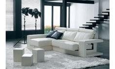 Sofá chaise longue a la izquierda en piel natural espesorada relax