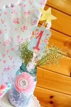 Shabby Chic Baby Princess 1st Birthday Party | CatchMyParty.com