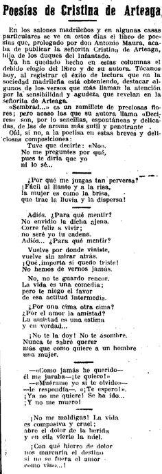 Reseña aparecida en el periódico Época (8-12-1925), sobre la autora de la Generación del 27, Cristina de Arteaga. Words, Silver Age, The Voice, Writers, Author, Women, Horse