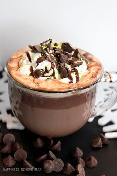 The Best Mint Hot Chocolate Recipe Ever - Happiness is Homemade