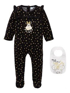 Minnie Mouse Stars Baby Sleepsuit and Bib Set - Black | very.co.uk