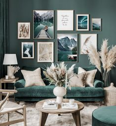 Living Room Green, Home Living Room, Living Room Designs, Living Room Decor, Living Room Gallery Wall, Living Room On A Budget, Paint Colors For Living Room, Small Living Rooms, Living Room Pictures