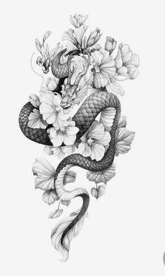 Dragon Tattoo With Flowers, Black Dragon Tattoo, Dragon Tattoo Arm, Small Dragon Tattoos, Dragon Tattoo For Women, Dragon Sleeve Tattoos, Japanese Dragon Tattoos, Japanese Tattoo Art, Dragon Tattoo Designs
