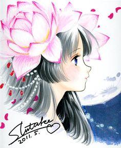 Kaguya the moonlight princess with long black hair, blue eyes, & pink flowers by manga artist Shiitake.