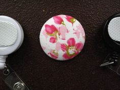 Pink Flowers Fabric Covered Button for Clip by tallulahssatchels (Accessories, Lanyard, badge reel, retractable, badge strap, clip on, lanyard, fabric button, tag holder, id badge reel, name tag, id, velcro button, pink flower button, pink flower fabric)