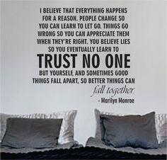 Marilyn Monroe Trust No One Quote Decal Sticker Wall Vinyl Decor Art