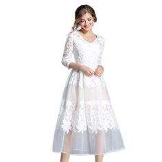 New Autumn Mesh Dresses Women Casual V Neck Embroidery White Dress Female High Waist Sexy Robe Plus Size Vestido de Festa N609-in Dresses from Women's Clothing & Accessories on Aliexpress.com | Alibaba Group